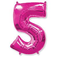 """Фольгована кулька цифра малиновий """"5""""  40"""" fuchsia.Flexmetal"""