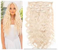 Волосы трессы на заколках ТЕРМО 7 прядей мелкая волна блонд длина 50см №613