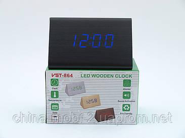 VST864 годинники настільні цифрові з будильником, чорні з синіми цифрами