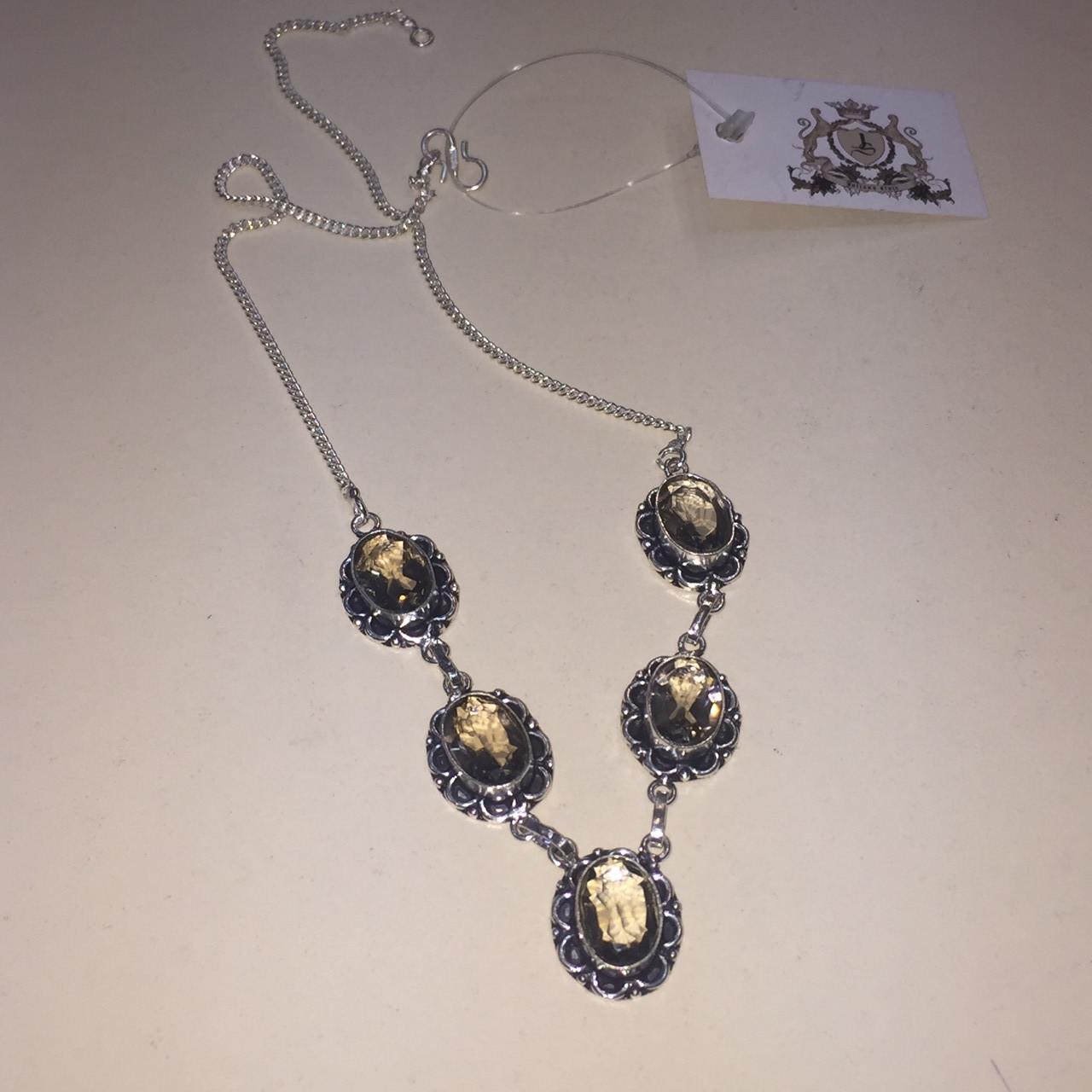 Раух топаз колье ожерелье с раух-топазом в серебре. Ожерелье с камнем раух-топаз Индия!