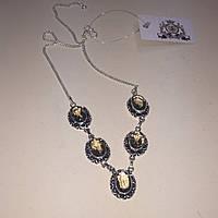 Раух топаз колье ожерелье с раух-топазом в серебре. Ожерелье с камнем раух-топаз Индия!, фото 1