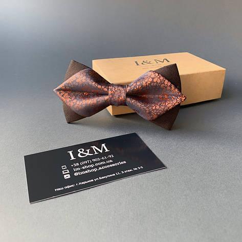 Краватка-метелик I&M Craft з гострими кінцями коричневий з відливом (100163N), фото 2