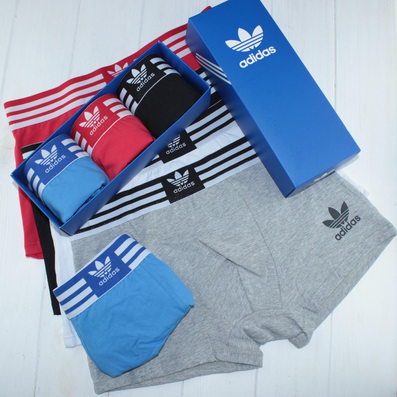 Мужские трусы боксеры транки шорты Adidas Адидас хлопок 3 штуки на выбор