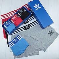 Мужские трусы боксеры транки шорты Adidas Адидас хлопок 3 штуки на выбор, фото 1