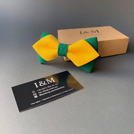 Галстук-бабочка I&M Craft с острыми концами желтый с изумрудным (100165N), фото 2