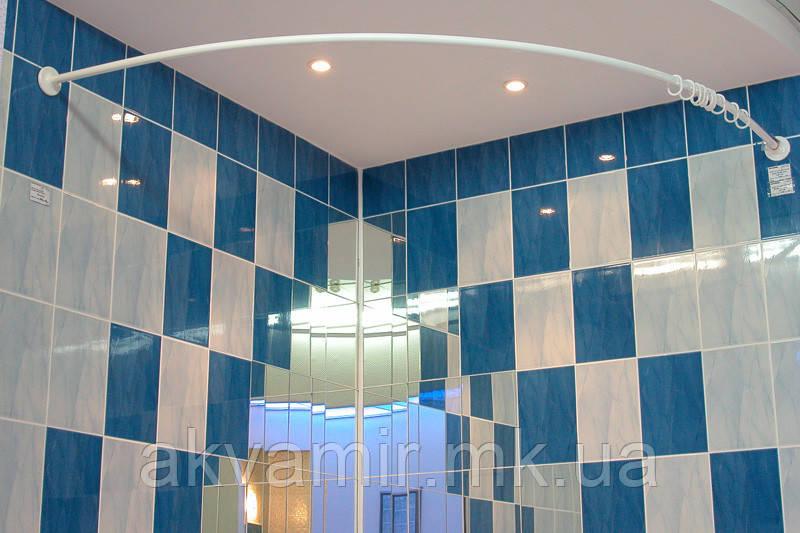 Карниз дугообразный 150х150 см d28 mm белый для угловой ванны