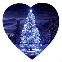 Пазл в форме сердца - Неоновая елка 190х190 мм