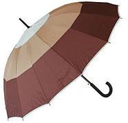 Зонт-трость, полуавтомат, 16 спиц, три оттенка коричневого