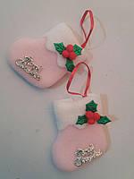 Новогодний Сапожок на елочку розовый