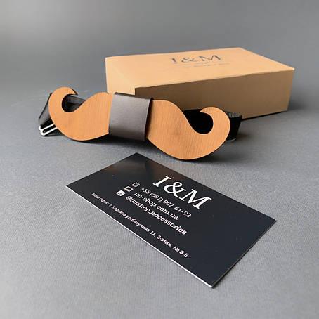 Галстук-бабочка I&M Craft из дерева в форме усов (011006), фото 2