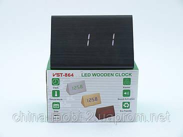 VST864 годинники настільні цифрові з будильником, чорні з білими цифрами