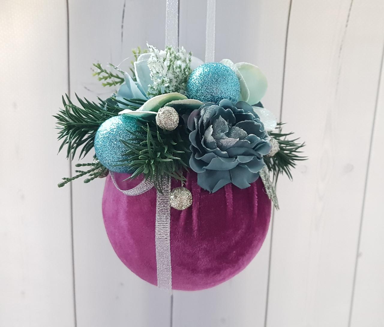 Елочное украшение Шар бархатный розовый Color Christmas Collection 10 см с декором
