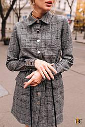 Женское повседневное серое платье с рубашечным воротником, на кнопках(3 цвета)