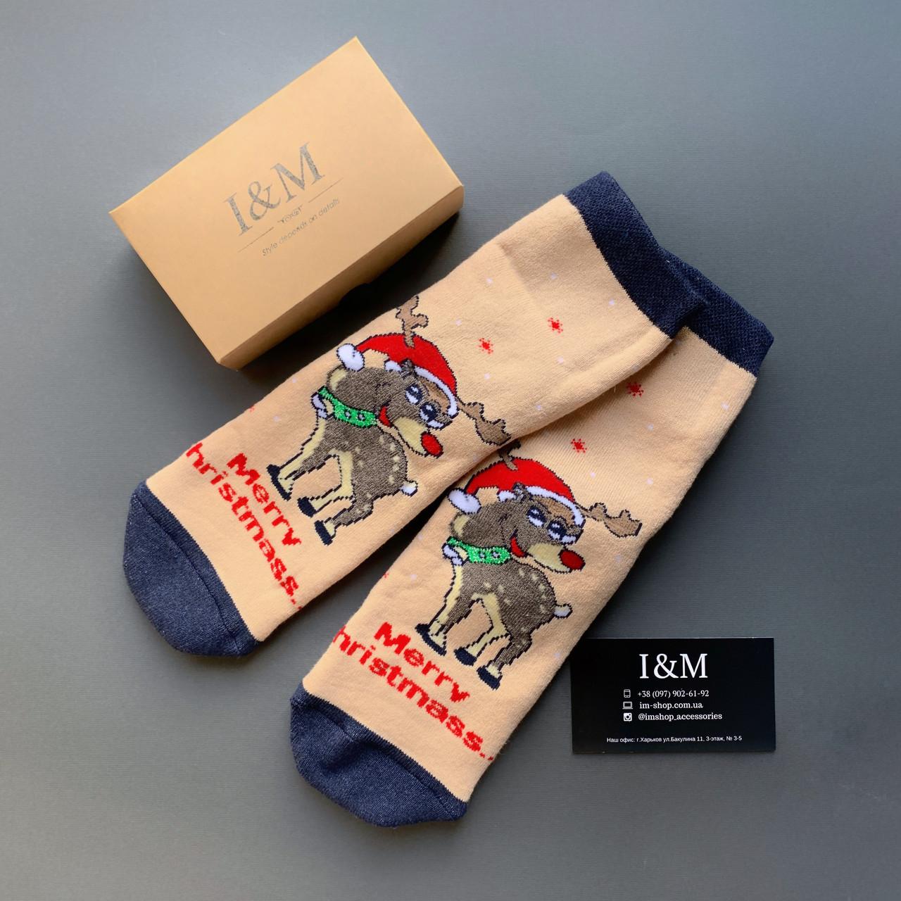 Шкарпетки жіночі I&M Craft новорічні з оленями (070345)