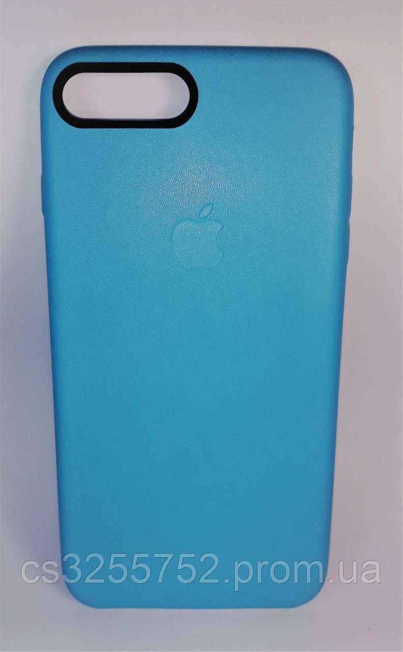 Накладка Iphone 7 plus кожа голубой