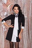Платье-трапеция с оригинальным галстуком (S, M, L) черно-белое