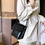 Женская классическая сумка на ремешке QS7034/10 2211/11 черная, фото 2