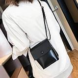 Женская классическая сумка на ремешке QS7034/10 2211/11 черная, фото 5
