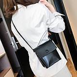 Женская классическая сумка на ремешке QS7034/10 2211/11 черная, фото 9
