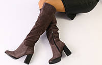 Сапоги-ботфорты женские зимние на каблуке, шоколад, натуральная замша, внутри - полушерсть, код FS-4099
