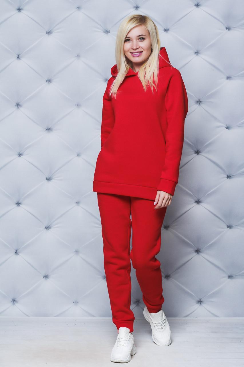 Костюм спортивный женский утепленный красный