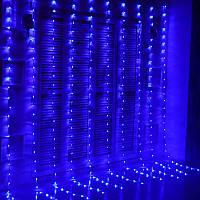 """Штора на медной проволоке """"Капля росы"""" 2х2м, 200 led цвет синий гирлянда на Новый год"""