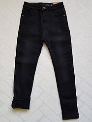 Чёрные Джинсы СКИННИ утеплённые на флисе для девочек размер 140 см