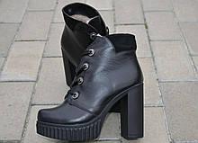 Ботильоны женские на каблуке кожаные черные 131119