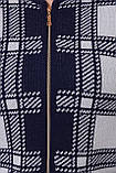 Кардиган на  змейке синий клетка, фото 4