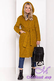 Зимнее горчичное пальто с капюшоном (р. S, М, L) арт. А-83-20/44443