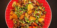 Тушеный картофель с мясом по-китайски и соусом Терияки