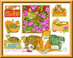 Схема для вышивки крестом панно - Кошки