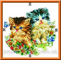 Схема для вышивки крестом часы - котята