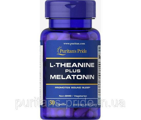 Релаксант, Puritan's Pride - L-Theanine 100 мг PLUS Melatonin 3 мг (30 капсул)