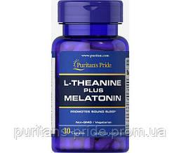 Релаксант, Puritan's Pride - L-Theanine 100 мг PLUS Melatonin 3 мг (30 капсул)