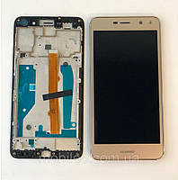 Дисплей (LCD) Huawei Y5 (2017)   Y5 III   MYA- L22   MYA-U29 с тачскрином и рамкой, золотой