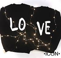 Новогодние Парные свитшоты для парня и девушки -LOVE . парные кофты. регланы