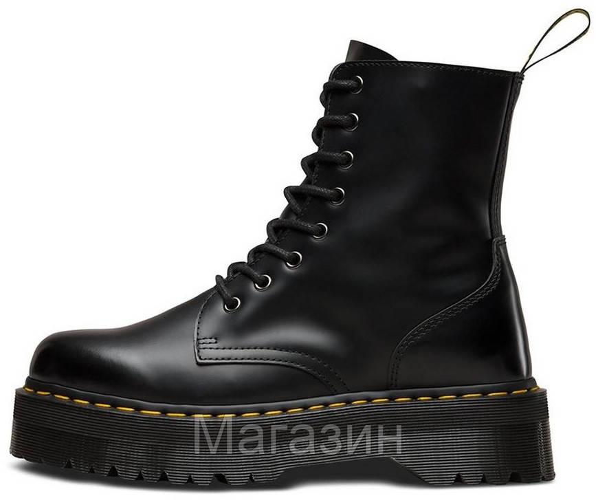 Зимние женские ботинки Dr. Martens Jadon Black FUR Доктор Мартинс Жадон черные С МЕХОМ