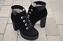 Ботильоны женские на каблуке замшевые черные от производителя 131120