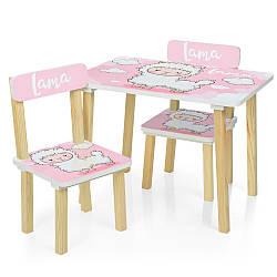 Стол с стульями 2 шт детский для девочки Лама Bambi  501-72