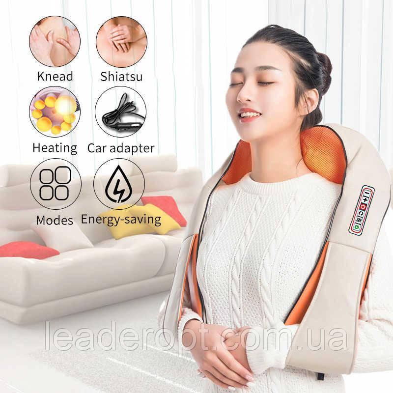 [ОПТ] Электрический роликовый пояс-массажер Massager of Neck Kneading для спины и шеи