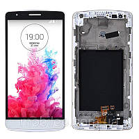 Дисплей (LCD) LG D724 G3s D722 D725 D728 G3 mini с тачскрином и рамкой, белый, ориг. к-во