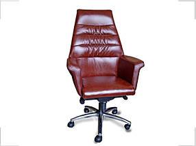 Кресло Тизо Хром Кожа Люкс Комбинированная Коричневая (Диал ТМ)