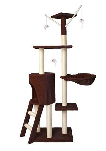 Дерево домик когтеточка когте точка драпак дряпка для кота кошки138 см коричневий