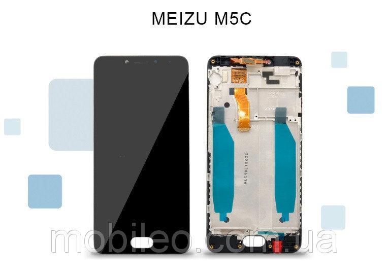 Дисплей (LCD) Meizu M5c | M710h с тачскрином и рамкой, черный