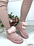 Угги женские короткие розовые натуральная замша, фото 3