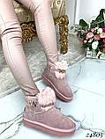 Угги женские короткие розовые натуральная замша, фото 6