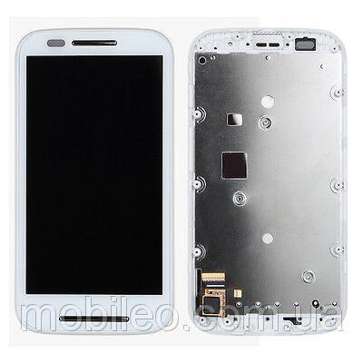 Дисплей (LCD) Motorola XT1021 Moto E | XT1022 | XT1025 с тачскрином, белый рамка