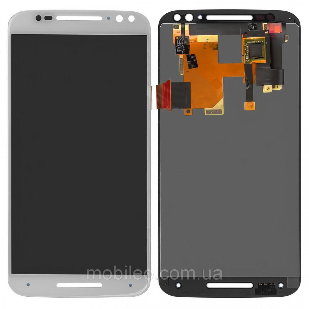 Дисплей (LCD) Motorola XT1572 Moto X Style | XT1570 | XT1575 с тачскрином, белый оригинал (PRC)