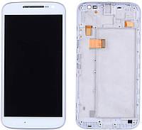 Дисплей (LCD) Motorola XT1620 Moto G4, XT1621, XT1622, XT1624, XT1625, XT1626 с тачскрином и рамкой, белый